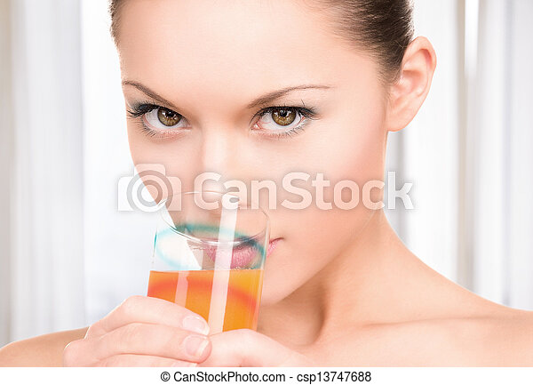 lovely woman with glass of juice - csp13747688