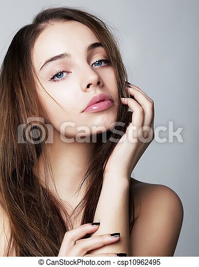 Lovely young woman closeup portrait - health concept - csp10962495