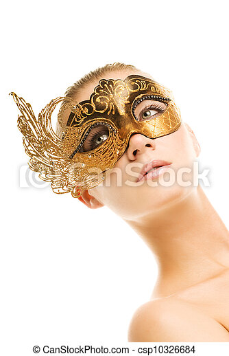 Lovely young woman with carnival mask on her face - csp10326684