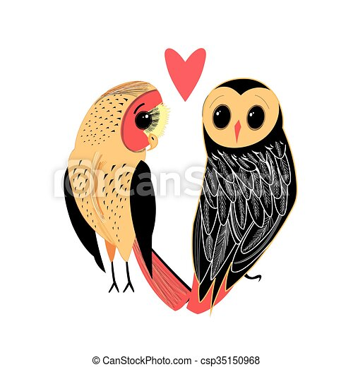 Lovers funny owl - csp35150968