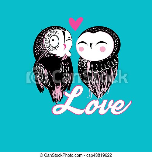 Lovers funny owl - csp43819622