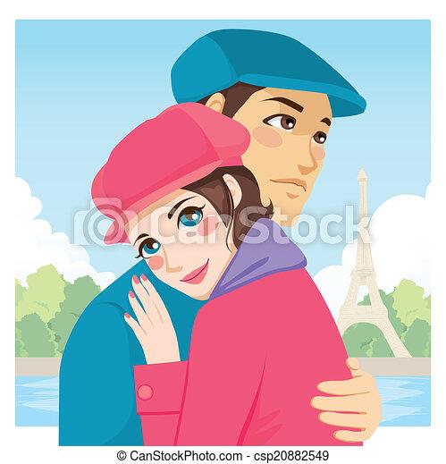 Lovers Hug Eiffel Tower - csp20882549