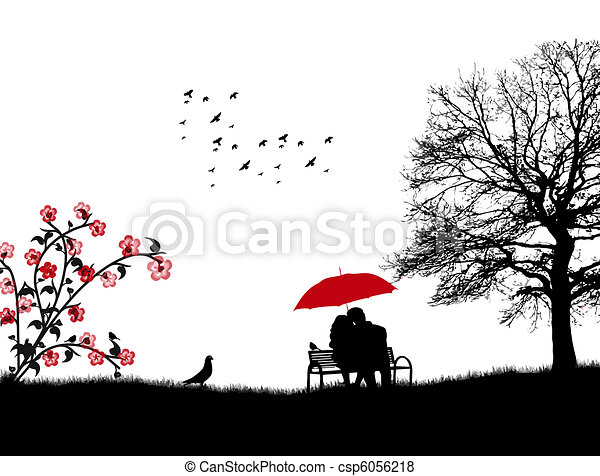 Lovers in a park - csp6056218