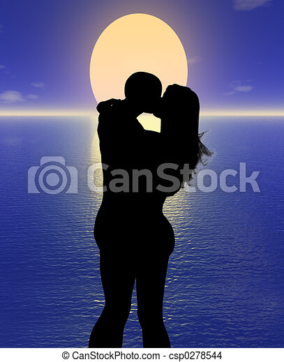 Lovers In The Sunset 3d Couple In Love