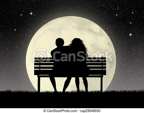 Lovers On Bench Illustration Of Lovers On Bench