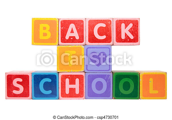 loving back to school in toy block letters - csp4730701