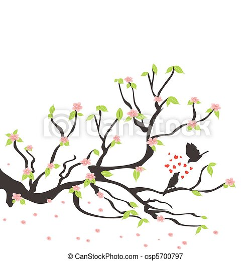loving birds on the spring plum tree - csp5700797