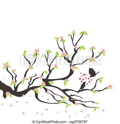 loving birds on the spring plum tree - csp5700797