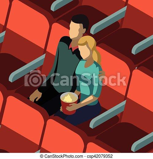 loving couple in cinema isometric template csp42079352