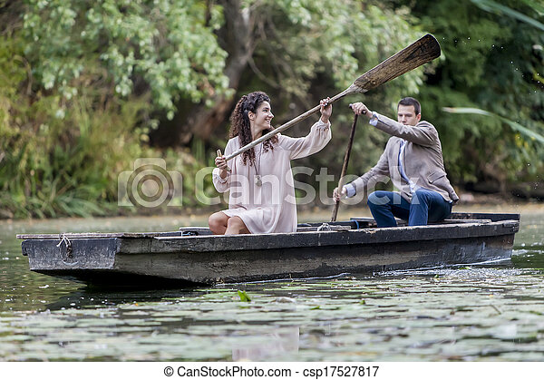 Loving couple in the boat - csp17527817
