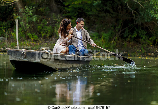 Loving couple in the boat - csp16476157
