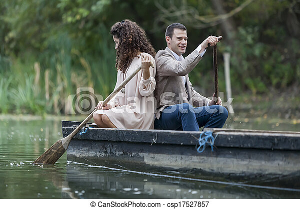 Loving couple in the boat - csp17527857