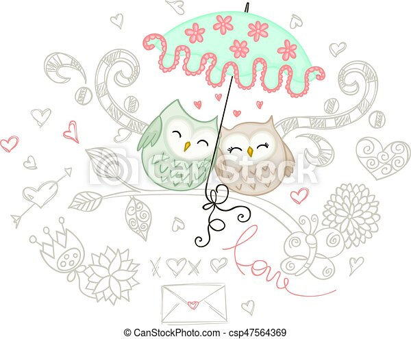 Loving couple of owls with umbrella - csp47564369