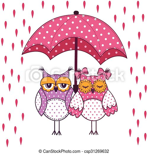 Loving Couple Of Owls With Umbrella In The Rain On A White Background