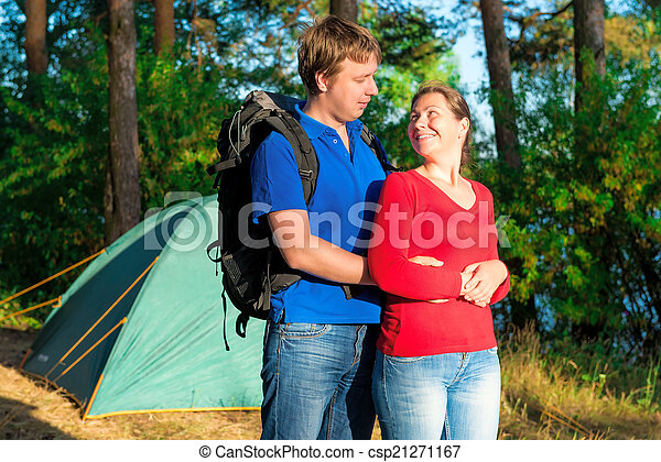 loving couple relaxing in nature - csp21271167
