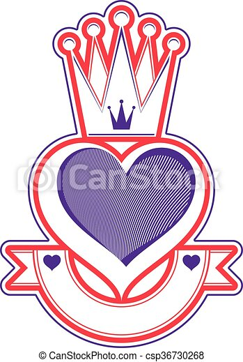 Loving Heart Artistic Illustration With Queen Crown Royal