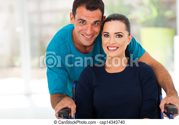 loving husband and diabled wife - csp14343740