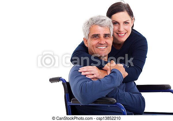loving supportive wife hugging handicapped husband - csp13852210