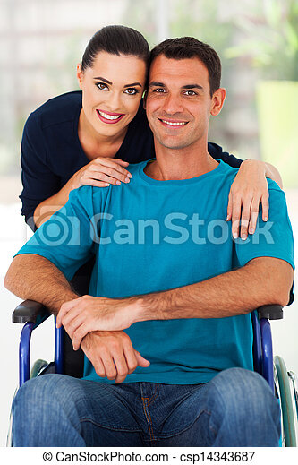 loving wife and handicapped husband - csp14343687