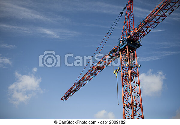 low angle view of a construction crane - csp12009182