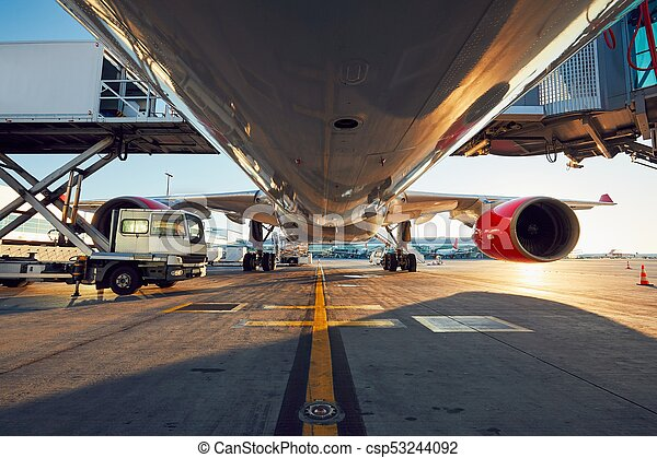 Low angle view of the airplane - csp53244092