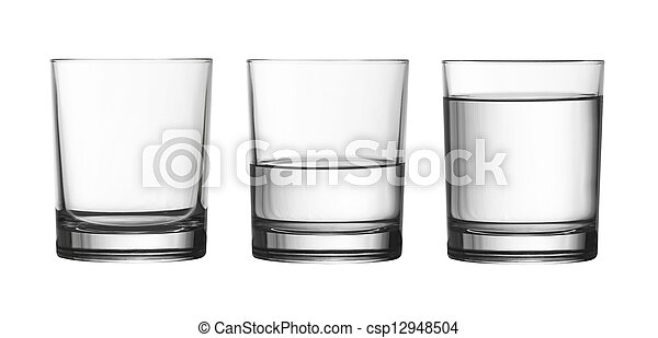 low empty, half and full of water glass isolated on white included - csp12948504