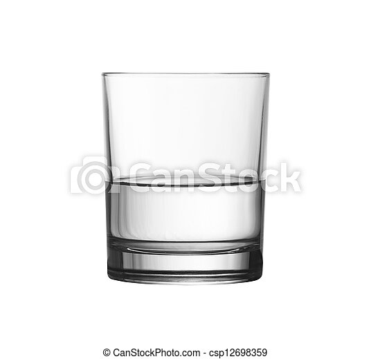 low half full glass of water isolated on white included - csp12698359