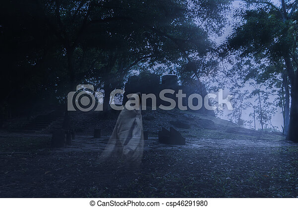 Low key image a blur white ghost in ancient forest. - csp46291980