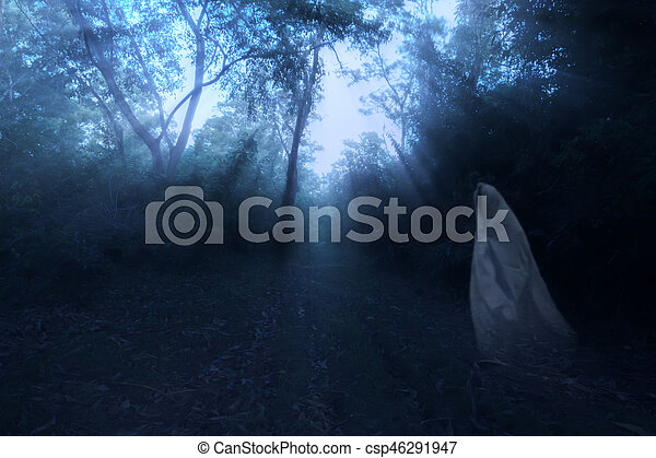 Low key image a blur white ghost in forest with light and mist. - csp46291947
