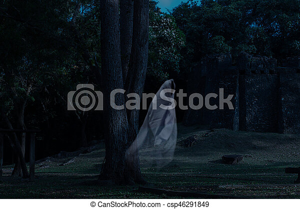 Low key image a blur white ghost under big tree in ancient forest. - csp46291849