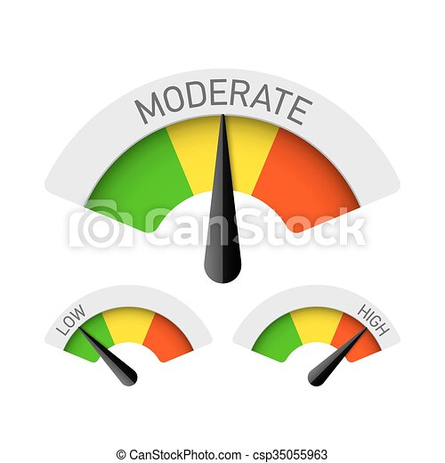 Low, moderate and high gauges illustration clip art vector ...