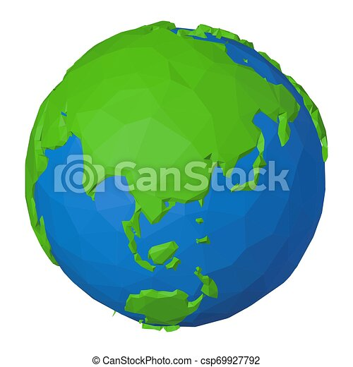 Low poly Asia and Australia on 3d globe with modern geometric shapes - csp69927792