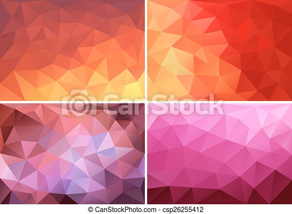 low poly background set, vector - csp26255412