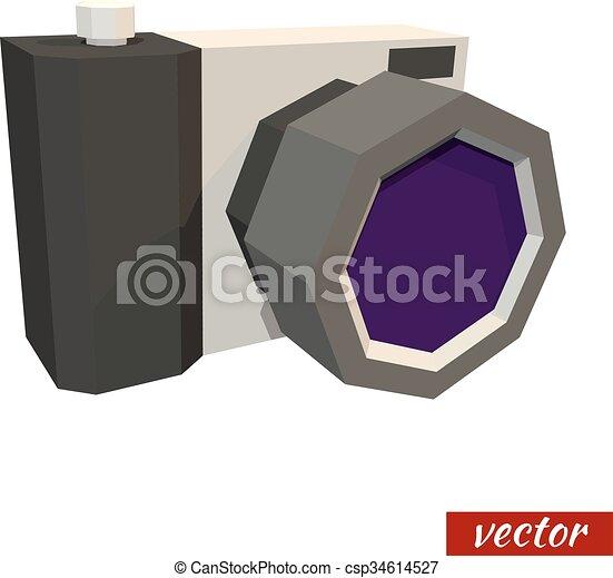 Low poly camera. Vector - csp34614527