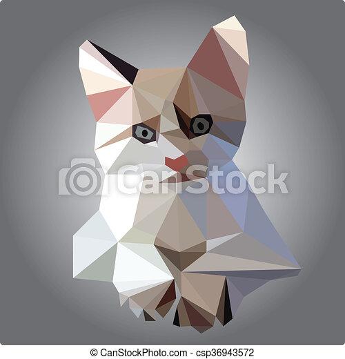 low poly cat vector - csp36943572