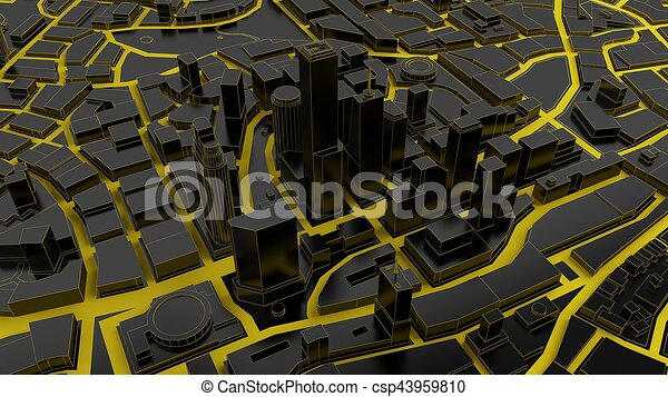 low poly city views from above  3d rendering