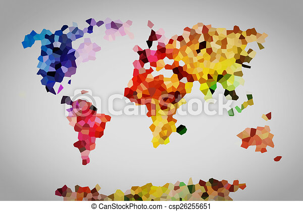 low poly colorful world map csp26255651