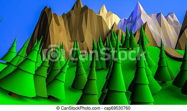low poly desert landscape. 3D rendering - csp69530760