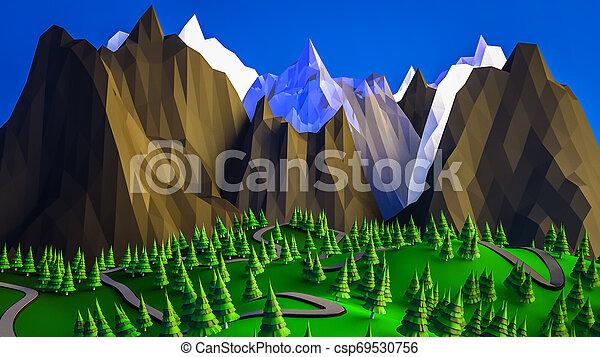 low poly desert landscape. 3D rendering - csp69530756