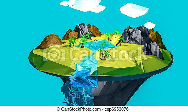 low poly desert landscape. an oasis. 3D rendering - csp69530761
