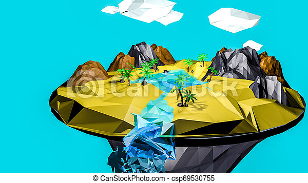 low poly desert landscape. an oasis. 3D rendering - csp69530755
