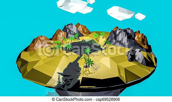 low poly desert landscape. an oasis. 3D rendering - csp69528906