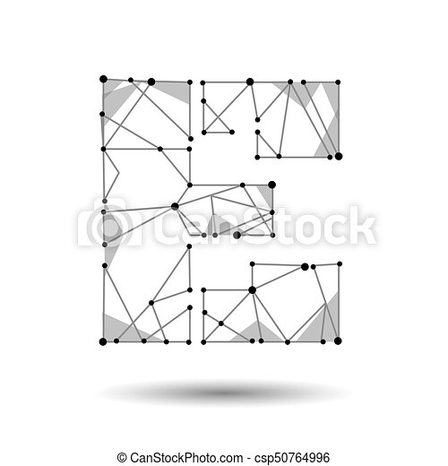 Low Poly Letter E English Latin Cyrillic Polygonal Triangle Connect
