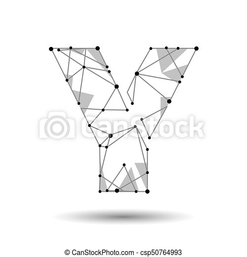 Low Poly Letter Y English Latin Polygonal Triangle Connect Dot