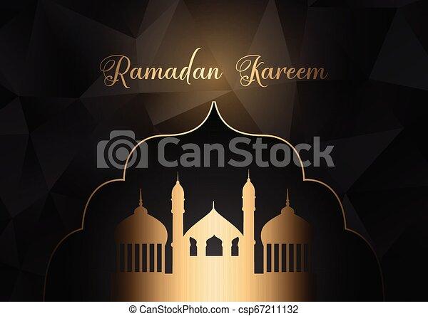 Low poly Ramadan Kareem background - csp67211132