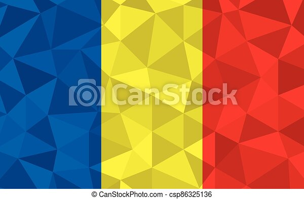 Low poly Romania flag vector illustration. Triangular Romanian flag graphic. Romania country flag is a symbol of independence. - csp86325136