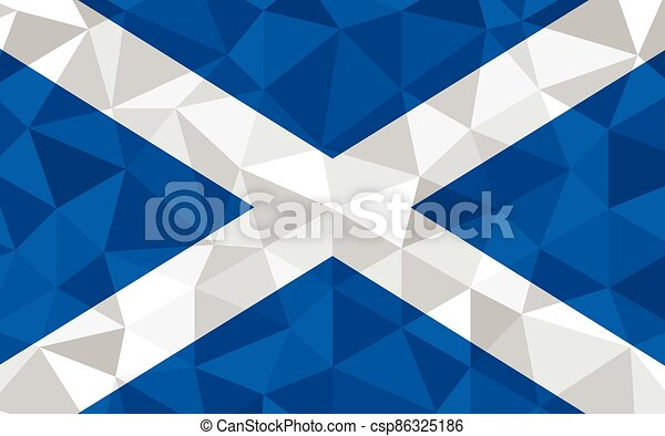 Low poly Scotland flag vector illustration. Triangular Scottish flag graphic. Scotland country flag is a symbol of independence. - csp86325186