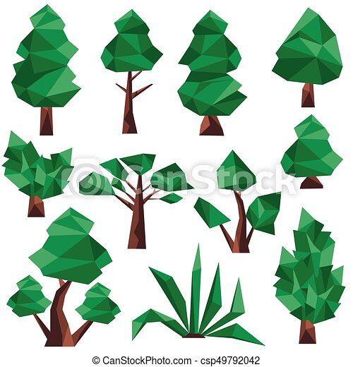 low poly tree clip art csp49792042 - Polytree Christmas Tree