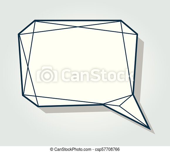 low polygon vector blank speech talk balloon template low polygon