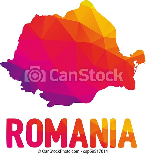 Low polygonal map of Romania (Rom?nia) with Romania typo sign